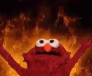 elmo, meme, and fire image