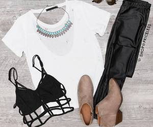 boots, outfit, and top image