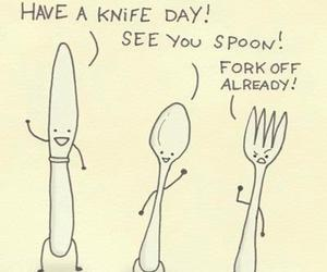 funny, knife, and fork image