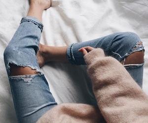 denim, sweater, and fashion image