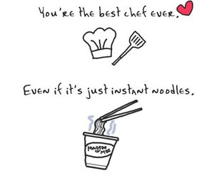 chef, noodles, and love image