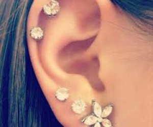 piercing, flowers, and ear image