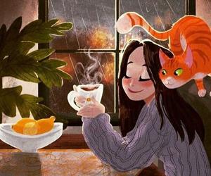 cat, rain, and tea image