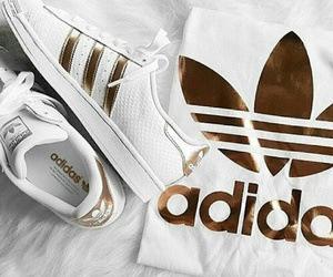 adidas, gold, and shoes image