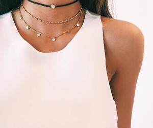 brunette, necklace, and style image