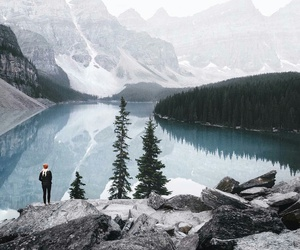 mountains, cold, and lake image