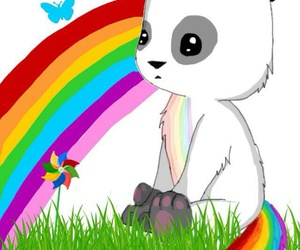 panda, rainbow, and unicorn image