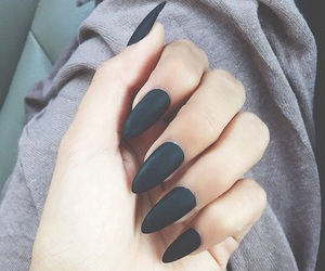acrylics, beauty, and black nails image
