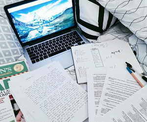 table, workplace, and studies image