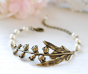 etsy, adjustable bracelet, and lily of the valley image
