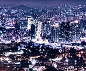 lights, city, and seoul image
