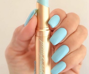 nails, blue, and lipstick image