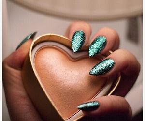 nails, green, and makeup image