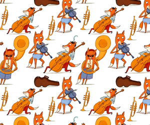 background, fox, and music image