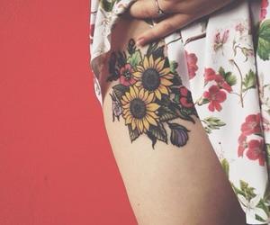 tattoo, flowers, and sunflower image