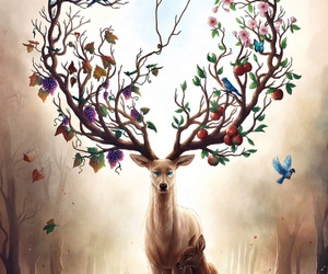 art, deer, and nature image