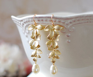 etsy, wedding jewelry, and gold earrings image