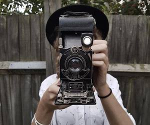 camera, girl, and hat image