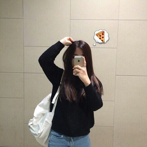 girl, pizza, and black image