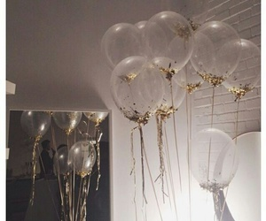 balloons, gold, and sparkle image