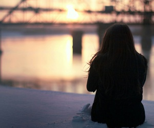 girl, sunset, and water image