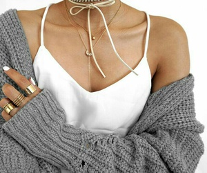 gold necklaces, white tank tops, and white choker necklace image