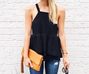 black top, cool, and outfits image