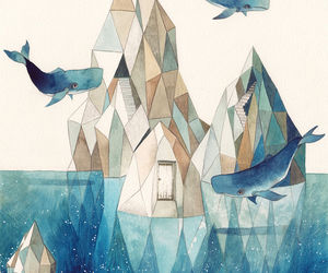 geometric, iceberg, and sea image