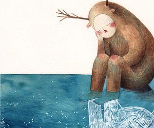 creature, sad, and stars image