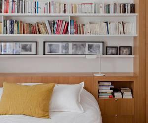 bedroom, book shelf, and decoration image