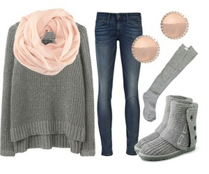 outfit, winter, and pink image