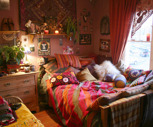 bed, blankets, and fabric image