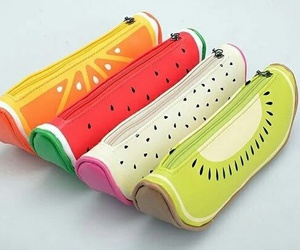 fruit, school, and pencil case image