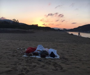 camping, friendship, and ocean image