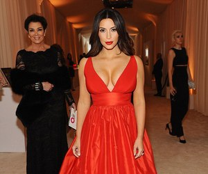 kim kardashian, dress, and red image