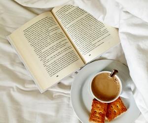 book shelf, books, and breakfast image
