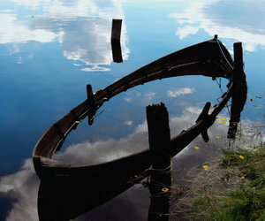 boat, clouds, and reflection image