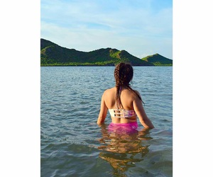girl, water, and green image
