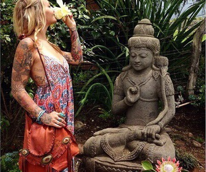 girl, Buddha, and hippie image