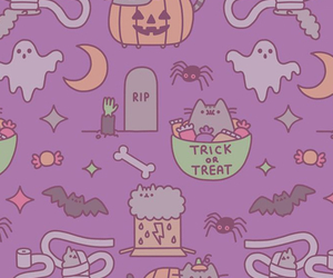 Halloween, wallpaper, and pusheen image