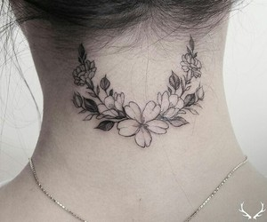 art, tattoo, and flowers image
