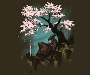 blossom, tree, and sword image