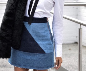 denim, outfit, and skirt image