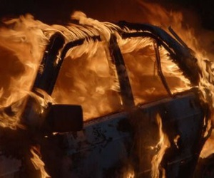 burning, cars, and fire image