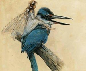 fairy, bird, and blue image