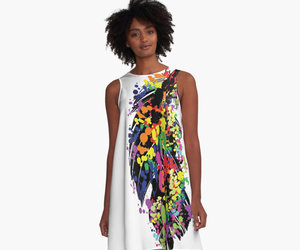 feathers, awesome dress, and gift idea image