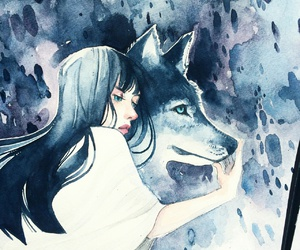 girl, illustration, and wolf image