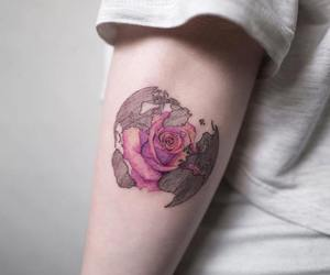 rose, tattoo, and world image