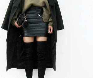 black purse, black thigh high boots, and black leather skirts image