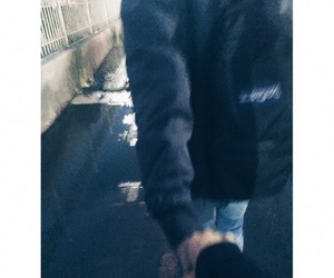 rain, love him, and holding hand image